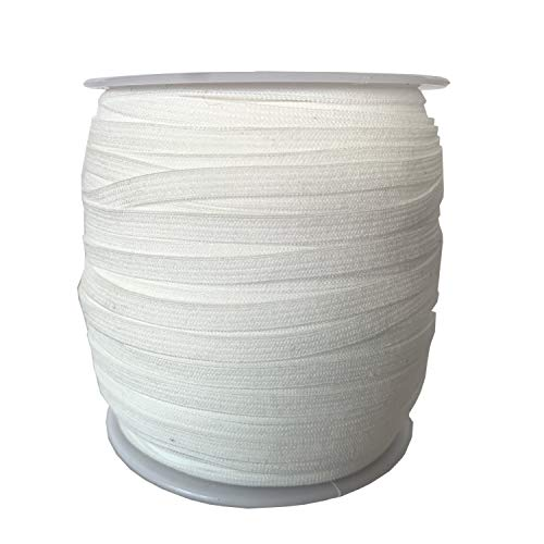 Elastic Band Co. 1/4 Inch 100 Yards 6mm Wide White Elastic Bands Cord Rope String Strap Braided Spool for Sewing Arts Crafts DIY Mask Latex Free High Elasticity, Sensitivity Free and Adjustable
