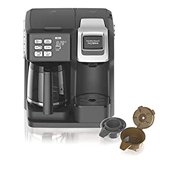 Hamilton Beach  49976  Coffee Maker Single Serve & Full Coffee Pot,Compatible withK-Cup Packs or Ground Coffee Programmable FlexBrew Black  Renewed
