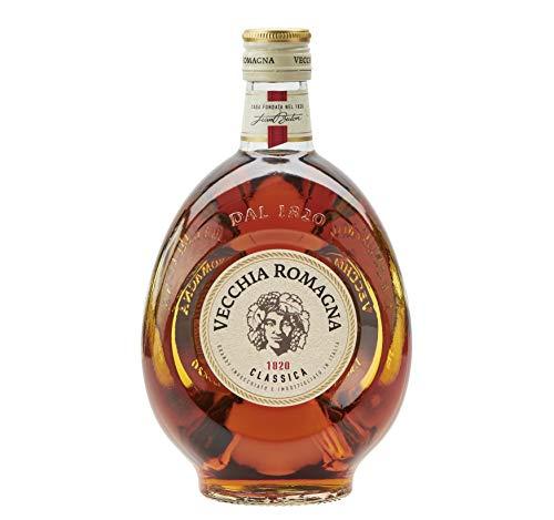 Vecchia Romagna Classica – Brandy ottenuto da metodo continuo e dall'invecchiamento nelle sole botti. Dal sapore fresco e delicato. Bottiglia da 70cl, 37,2%.