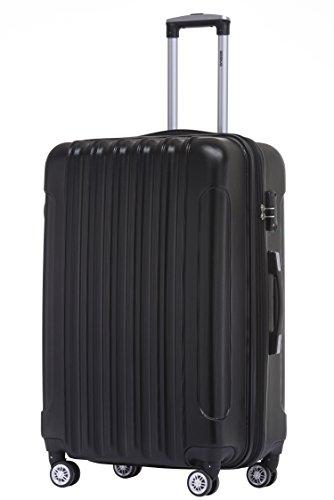 BEIBYE TSA Schloß 2050 Hartschale Trolley Koffer Reisekoffer in M-L-XL-Set (Schwarz, 66cm)