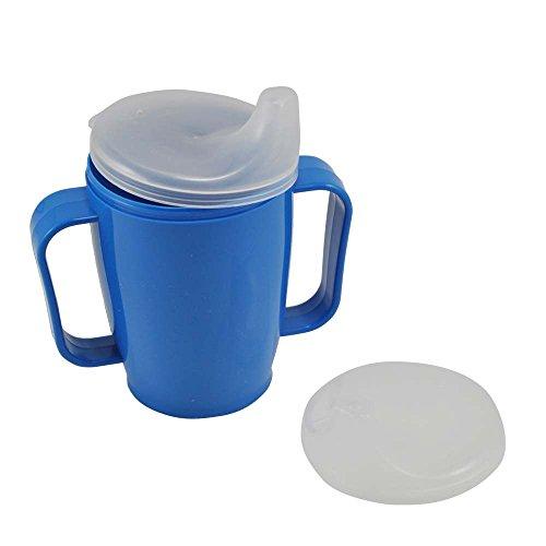 Schnabelbecher, tasse, Trinktasse mit Griff + 2 Deckel 4+12 mm, 250ml, blau