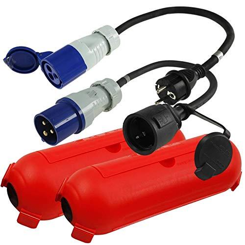 CEE Adapter Kabel Stecker Kupplung Schutzbox Set Camping Boot Wohnmobil Garten H07RN-F 3x2,5mm² 230V 16A Stromadapter