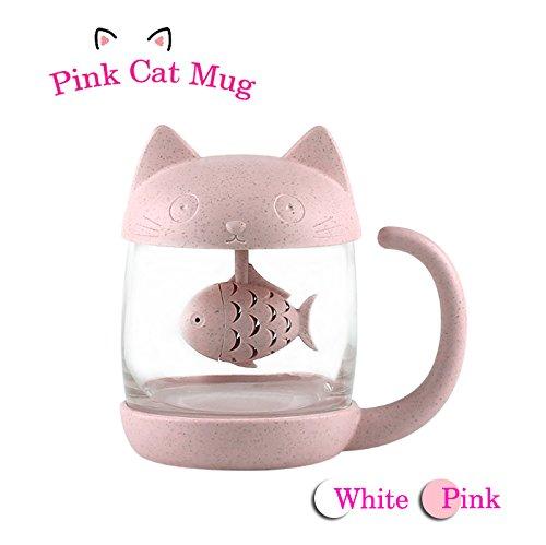 Katzen Glas Tee Becher Wasser Flasche mit Fisch Tee Infuser Sieb Filter 250ML (8OZ) (Rosa)