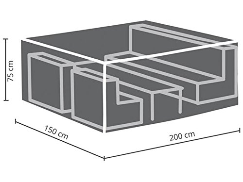 Perel Garden OCLS-S beschermhoes voor lounge-set - S, zwart, 200 x 150 x 75 cm