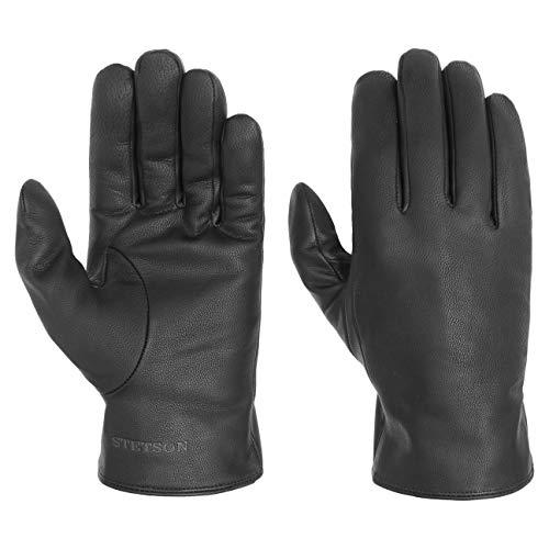 Stetson Classic Nappa Lederhandschuhe Handschuhe Herrenhandschuhe Fingerhandschuhe Damen/Herren - mit Futter Herbst-Winter - 9 HS schwarz