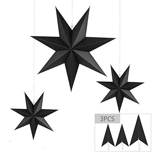 3PCS Linternas De Papel De Estrellas,Estrella De Papel Colgante,Estrellas Colgantes De Navidad...