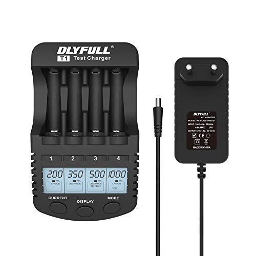 DLYFULL Batterieladegerät Akku Ladegerät LCD-Display Akkuladegerät für 4X AA/AAA NiMH NiCD Akkus mit 5 Ladeprogrammen: Laden, Entladen, Testen, Repair und USB Lade