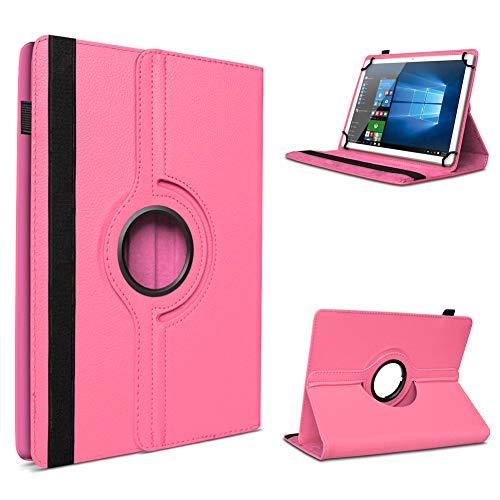 UC-Express Tablet Schutzhülle für 10-10.1 Zoll Tasche aus hochwertigem Kunstleder Hülle Standfunktion 360° Drehbar Universal Hülle Cover, Farben:Pink, Tablet Modell für:Odys WinDesk X10