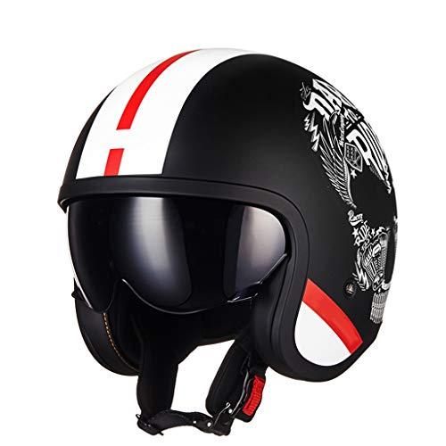 DUCCM Retro Medio Casco,Medio Casco de Motocicleta Unisex para Adultos,ECE Aprobación Casco Retro con Visera hacia Arriba,para Motocicleta Scooter Crucero Bicicleta ATV Casco Jet