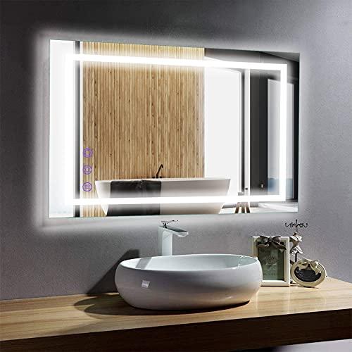 BONADE Espejo de Baño LED 50 x 70cm Espejo de Pared Espejo de Baño Moderno con Interruptor Táctil Espejo de luz con Función Anti-Niebla, Luz Blanco Cálido/Blanco Frío/Neutro