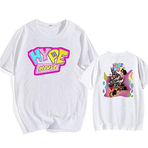 LYJNBB LA Maison Hype T-Shirts, Pull à Manches Courtes Sweat-Shirt Unisexe, Cotten col Rond ami Hauts Vêtements,Blanc,M