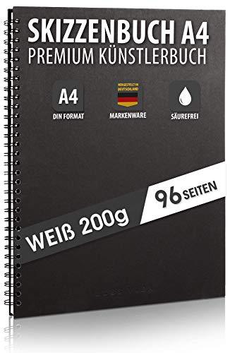 Skizzenbuch PREMIUM Qualität 200 g/m² mit schwarzer Spiralbindung A4 Hochformat – Blattgröße 20,3 x 28,9 cm, Reißfestes, nicht ausblutendes, säurefreies Papier Weiß, Sketchbook - aus DEUTSCHLAND
