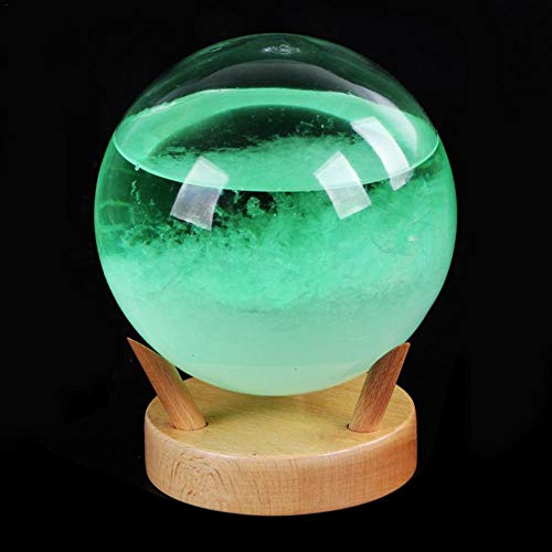 Weather Ball Storm Glass Weather Forecaster Stylish Innovative with Wooden Base Small Desktop Weather Predictor Weather Station for Home Office
