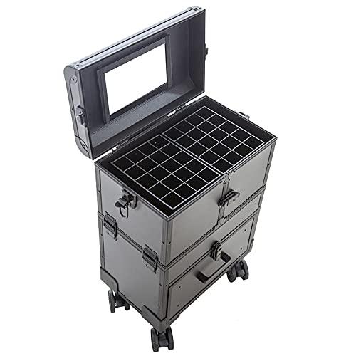 YLMF Mallette à cosmétiques, avec 360 Roues rotatives automatiques et Mallette de Train de Grande capacité en Aluminium, adaptée aux maquilleurs/manucures Professionnels