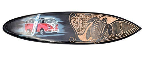 Interlifestyle Surfboard aus Hartholz 100cm mit VW Bus Motiv Deko Surfbrett Paintbrush
