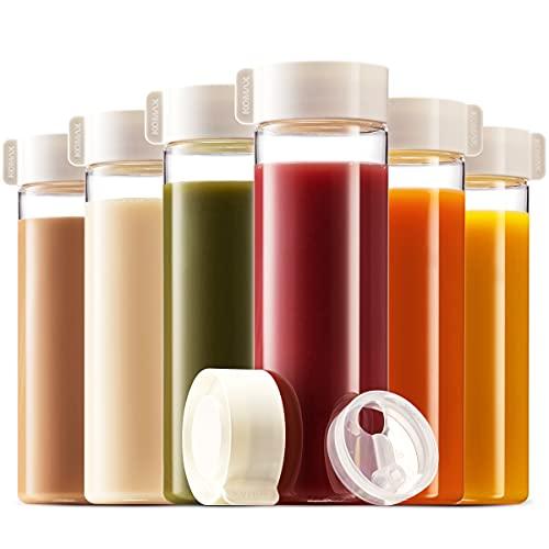 Komax Juice Bottles 18.5-oz   Set-of-6 Reusable Juice & Smoothie Bottles   Premium BPA-Free Plastic, Shatterproof, Leakproof, Freezer & Dishwasher Safe   Wide Mouth Juice & Smoothie Containers