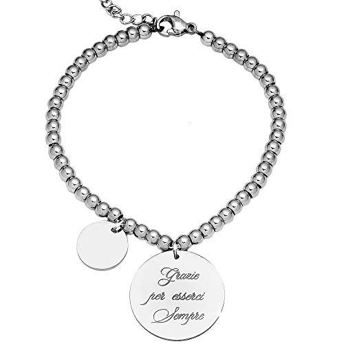 Beloved Bracciale da donna, braccialetto in acciaio emozionale - frasi, pensieri, parole con charms - ciondolo pendente - misura regolabile - incisione - argento (MOD 4)
