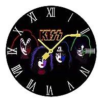 キッス Kiss ロックバンド3_wps 壁掛け時計 木製掛け時計電池式 掛け時計 おしゃれ 円形 静音 ウオールクロック インテリア 部屋装飾