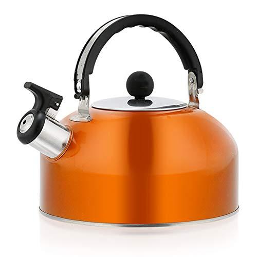 gerFogoo Hervidor de agua silbante de acero inoxidable, tetera hemisferio tetera tetera tetera tetera espejo agua pulido hervidor de te cafe recipiente con asa resistente al calor (naranja)