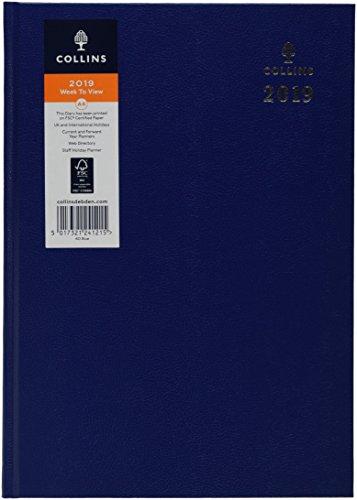 Collins 40-niebieski dziennik 2019 A4 2019 biurko tydzień widoku - niebieski