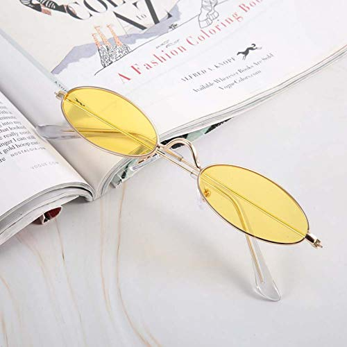 DAUERHAFT Gafas de Sol Femeninas Gafas de Sol ovaladas sin opresión, para Conducir en Verano al Aire Libre y Deportes(Gold Frame Transparent Yellow)