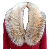 Faux Fur Collar Scarf Hood Collar Shawl Stole Neck Warmer For Winter Coat Jacket Parka (50cm19.7', Raccoon with black tips)?