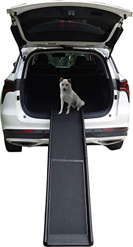 LLCTOOLS Hunderampe Hundetreppe Hundeautorampe Kofferraumrampe für Haustiere Hundeeinstiegshilfe Auto Rampe Hund Tierrampe rutschfest. 156x40x8 cm