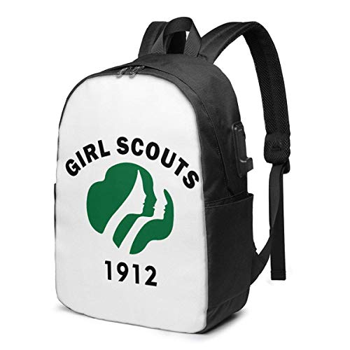 HOIH Mochila USB de 17 Pulgadas Girl Scouts School Business Durable Laptop Bag Puerto de Carga Regalos Hombres Mujeres Estudiante