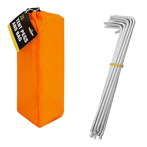 Milestone Camping Men's 20930 20 Pegs in Carry, Silver in Orange Bag, H16.5 x W2cm