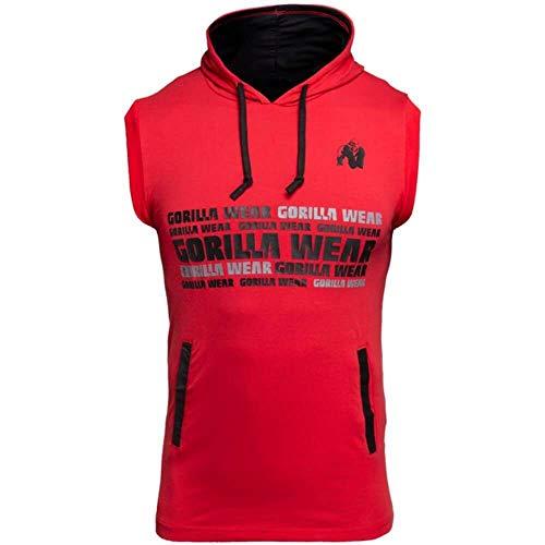 GORILLA WEAR - Ärmelloser Hoodie - Melbourne Sleeveless Hooded T-Shirt - Bodybuilding Shirt mit Kapuze Rot 3XL