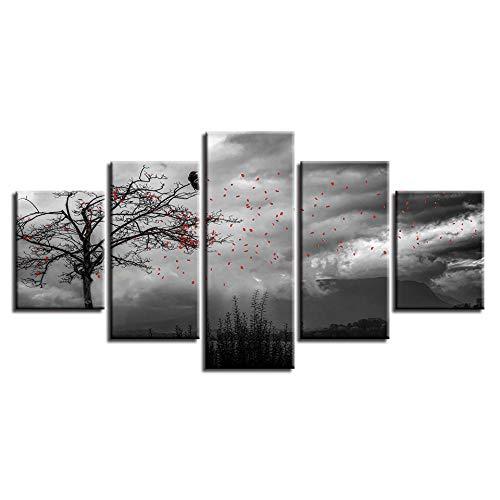 Axqisqx wanddecoratie, afbeelding in wit en zwart, kunst, 5 stuks, bloemen vliegen in de hemel en boom van vogels modulaire lijst