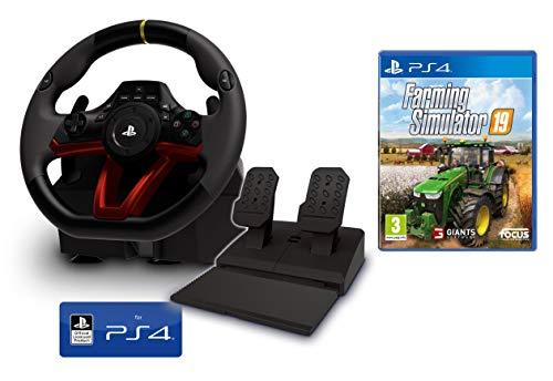 Volant et pédales PS4 PS5 [Nouveau modèle] Sans fil Wireless officiel Sony PS4 sous licence + Farming Simulator 19