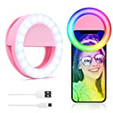Selfie Ring Light for Phone Clip-on Ring Light for Laptop iPhone Circle Light LED Zoom Light for Computer iPhone Cell Phone Photography Camera Video Girl Make up Lights Rechargeable Pink