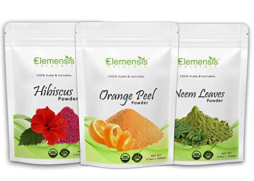 Elemensis Naturals Pure & Natural Organic Hibiscus Flower, Orange Fruit peel, Neem Leaves Powder - (Each 100 gm)