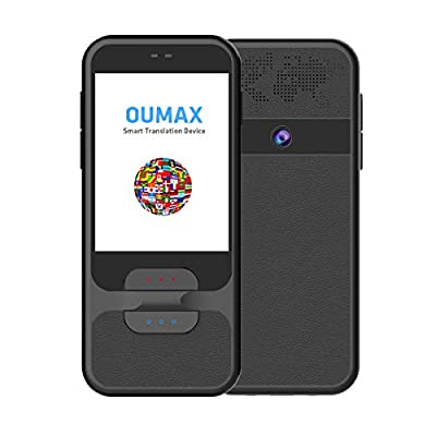 OUMAX Language Translator Device,Talk T2 AI Two Way. Support 97 Languages Voice Translation, Camera and Photo Translation, Text Translation, 2.4Inch Touch Screen, WiFi Connection (Black)
