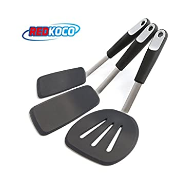 REDKOCO_3-Piece Premium Quality Kitchen Turner and Spatula Set – Elegant and Functional Kitchen Essentials – Heat Resistant, BPA Free and FDA Approved – Scratch Proof, Non-Stick Easy to Clean