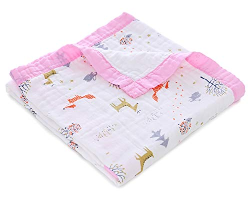 Jay & Ava Baby Muslin Blanket, Organic Cotton, 4 Layers, Soft, Hypoallergenic, Breathable Quilt, Nursery & Crib Blanket, Perfect (Pink Gold Deer)