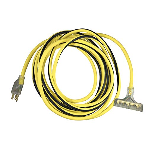 US Wire and Cable 76050 12/3 50ft Heavy Duty with Pow-R Block Extension Cord, Yellow