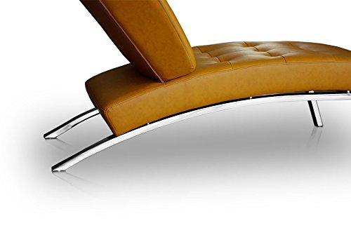 NEUERRAUM Bauhaus Daybed Chaiselongue Lounge-Sessel Relax Liege Couch Sofa Echtleder, Fuß Edelstahl poliert. Abbildung in Leder Hellbraun (Cognac).