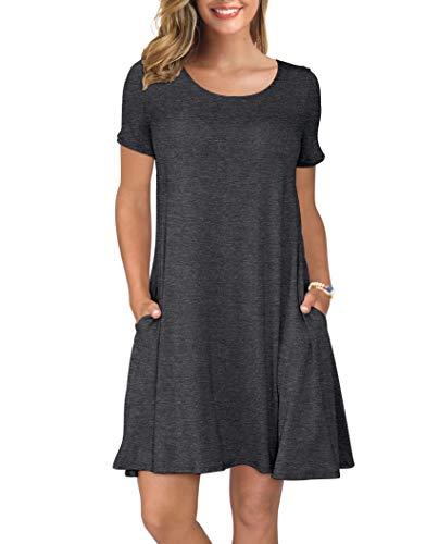 KORSIS Women's Summer Casual T Shirt Dresses Swing Dress Dark Gray M
