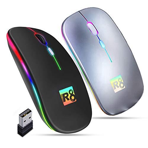 GS1 US, INC. Mouse Wireless Ricaricabile Ottico Mini Silenzioso 1600 Dpi Batteria Lunga Durata 2.4G USB Portatile Ultra Sottile da Viaggio Leggero per Pc Notebook MacBook (Grigio)