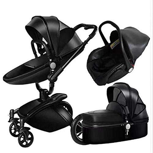HXPH Baby Buggy, hohe Position, auf zweierlei Art klappbar, das Baby kann in diesem leichten Kinderwagen sitzen und liegen., Aluminiumlegierung, Schwarz , 80x60x112cm