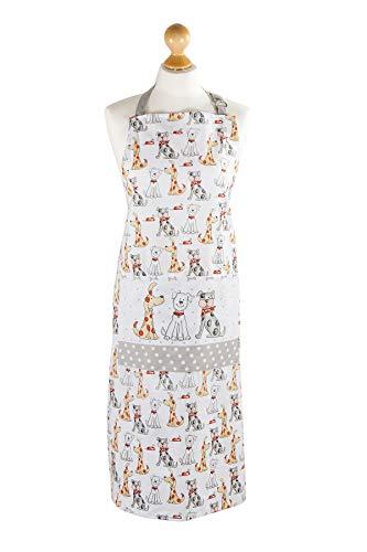 SPOTTED DOG GIFT COMPANY Küchenschürze für Frauen Damen Hundemotiv Kochschürze Baumwolle mit Taschen zum Kochen, Hund Geschenk für Hundeliebhaber Hundefreund
