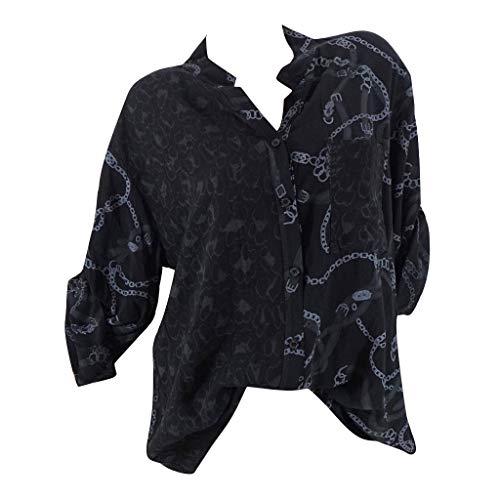 Smonke Damen Mode Übergrößen Shirts Lange Ärmel Tasche Sweatershirt Leopard gedruckte Knopf Bluse Herbst Winter Tops