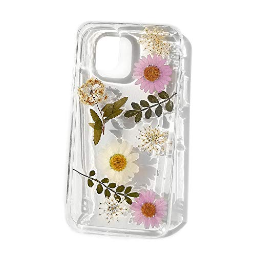 ELISE & FONDA B24 Handmade Floral Case for iPhone 11, Soft Clear Rubber Pressed Dried Flowers Case for Women Girls (White)