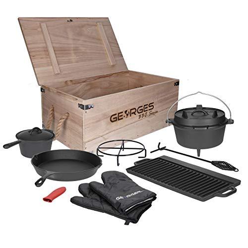 TALK-POINT Georges BBQ Series 9- teiliges Premium Dutch Oven Set in Holzkiste | preseasoned (bereits eingebrannt) | Dutch Oven mit Füßen, Pfanne, Topf, Handschuhe, Grillplatte UVM.