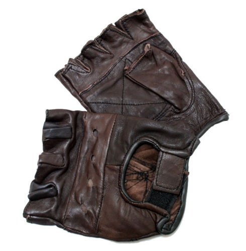 New Brown Genuine Leather Motorcycle Driving Cycling Weight Lifting Fingerless Gloves (Small)