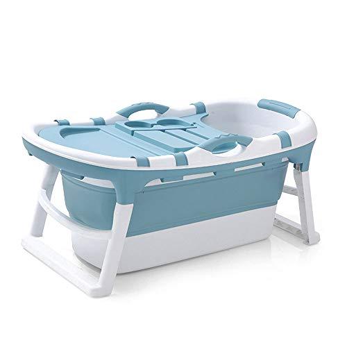 LYN&xxx Baby-Badewanne mit Drain, Faltbare Tresor Griffige Tragbarer Badewanne Badewanne Kind Schwimmen Kunststoff Erhöhung Badefass Bad Barrel Wanne,Blau