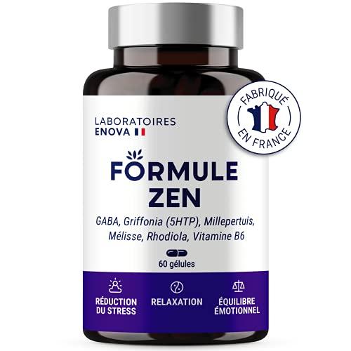 Zen-formule | GABA, Griffonia (5-HTP), janskruid, melisse, rhodiola, vitamine B6 | anti-stress-natuur | 30 dagen ontspanning | gemaakt in Frankrijk