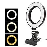 Anillo de Luz LED Fotografía Regulable con 3 Modos para Maquillaje Selfie Transmisión y Vivo Grabación de vídeo (Color : Black, Size : 16cm)
